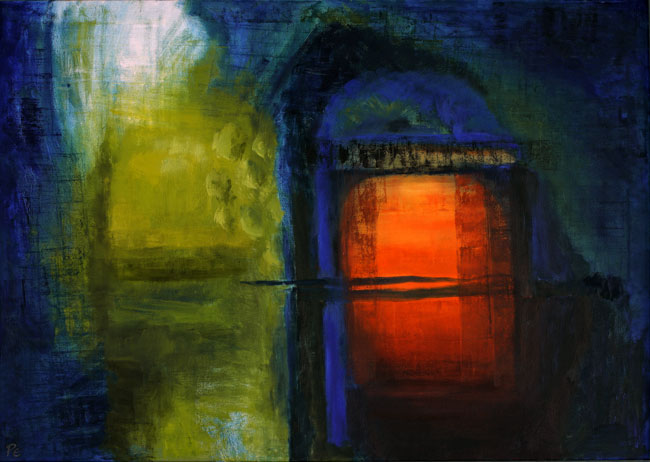 Interior-Exterior I (120 x 84 cms). Series: Doorways Through. Category: oil paintings