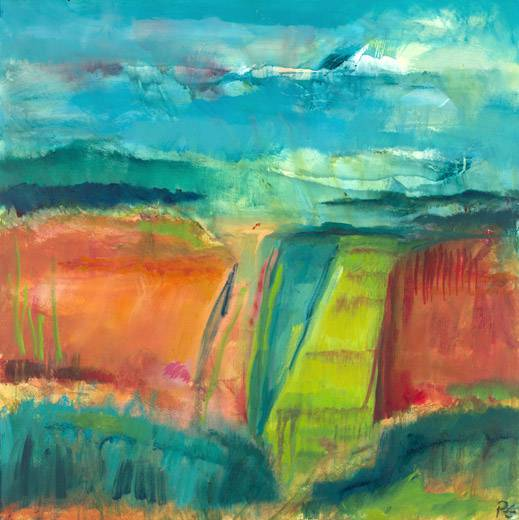 Out There IX (oil on canvas, 90 x 90 cms). Series: Landscapes Out There. Category: oil paintings