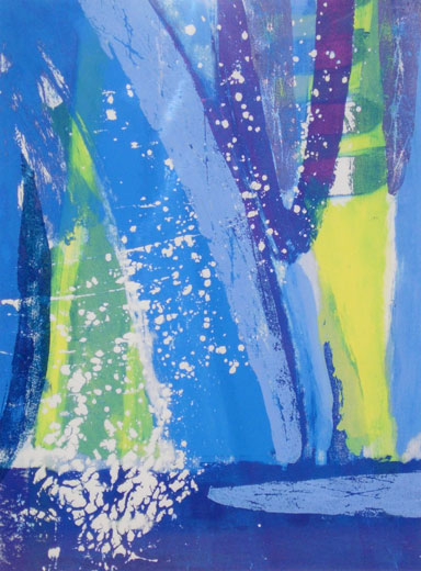 Blue Splash (34 x 25 cms). Series: Lone Space. Category: screenprints