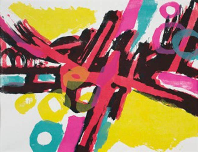 All Sorts (one-off screenprint, framed)  34x26 cms. Series: New Abstracts. Category: new work